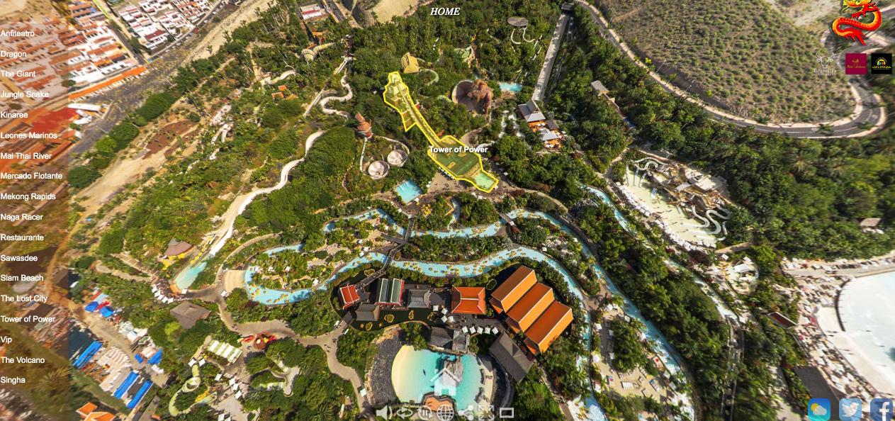 Mapa de atracciones de siam park