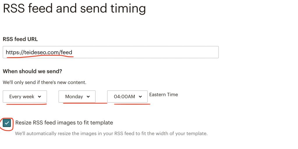 configuración campaña mailchimp