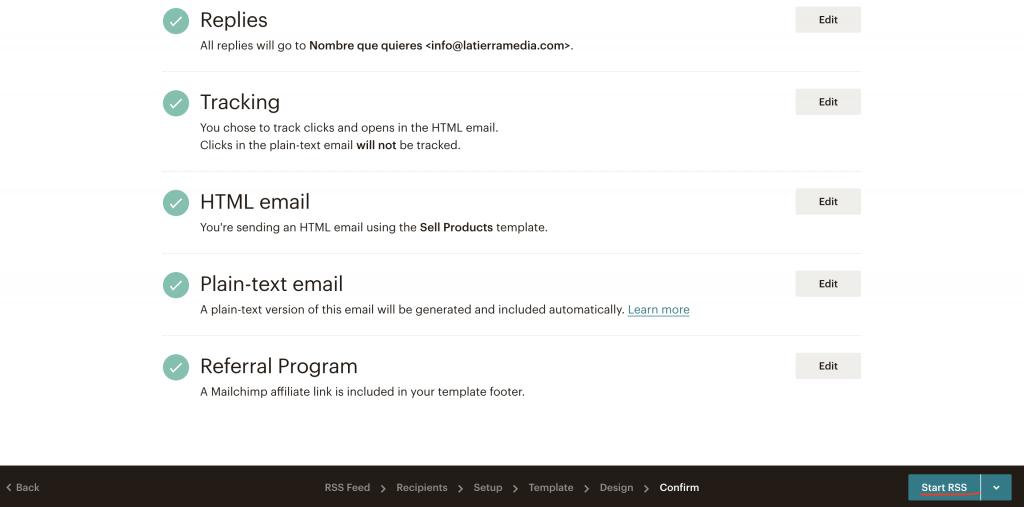 finalizar configuración mailchimp