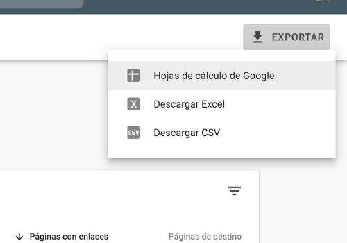exportar google search console
