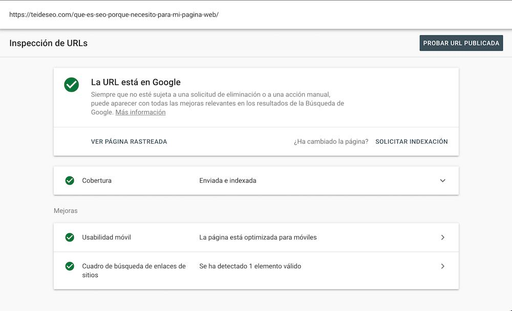inspeccionar urls google search console